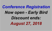 Conference Registration Now open - Early Bird Discount ends:  August 27, 2018
